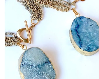Blue Druzy Bracelet with Silver and Gold mixed Chain/ Aqua Blue Druze Mineral Charm Bracelet/ Blue Druzy Stone Bracelet  / Bracelet On SALE!