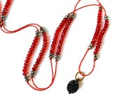 Extra Long Druzy and RED CRYSTAL Beaded Necklace- Delicate Layering Druzy Necklace- Wrap Druze Druzy Necklace - Red Crystal Holiday Necklace