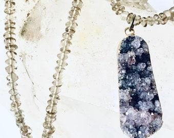 Square Amethyst pendant A delicate and unique necklace. Pearls and Swarovsky crystals light Lemon Quartz