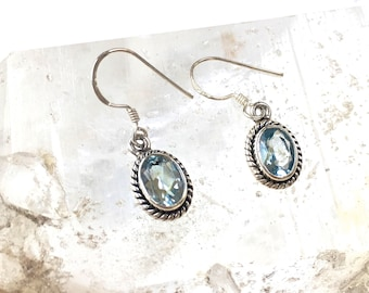 Blue Topaz faceted Crystal Gemstone 'Everyday' Earrings- Classic Earrings in Sterling Silver- birthstone- Great GIFT for HER!