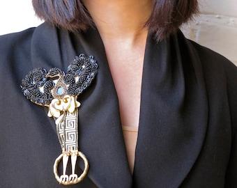 Baroque Medieval Serpent Brooch-Black+Gold with Beaded Wings- OOAK Fantasy Brooch-VINTAGE Pauletta Brooks Wearable Art- fashion editorials