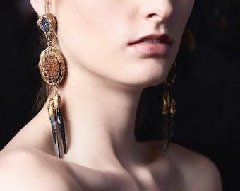 Garnet Druzy w. Black Obsidian STATEMENT EARRINGS / Raw Mineral Dangle Earrings/ Rough Cut Stone Earrings/ OOAK Pauletta Brooks Wearable Art