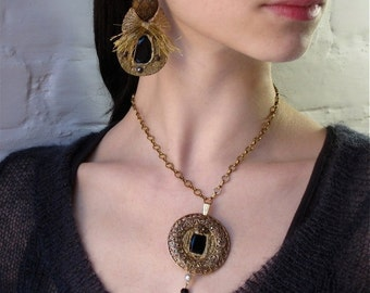 Black and Gold Filigree Circle Choker/Necklace, Baroque, Medieval, Royalty necklace-One of a Kind Vintage Pauletta Brooks Wearable Art