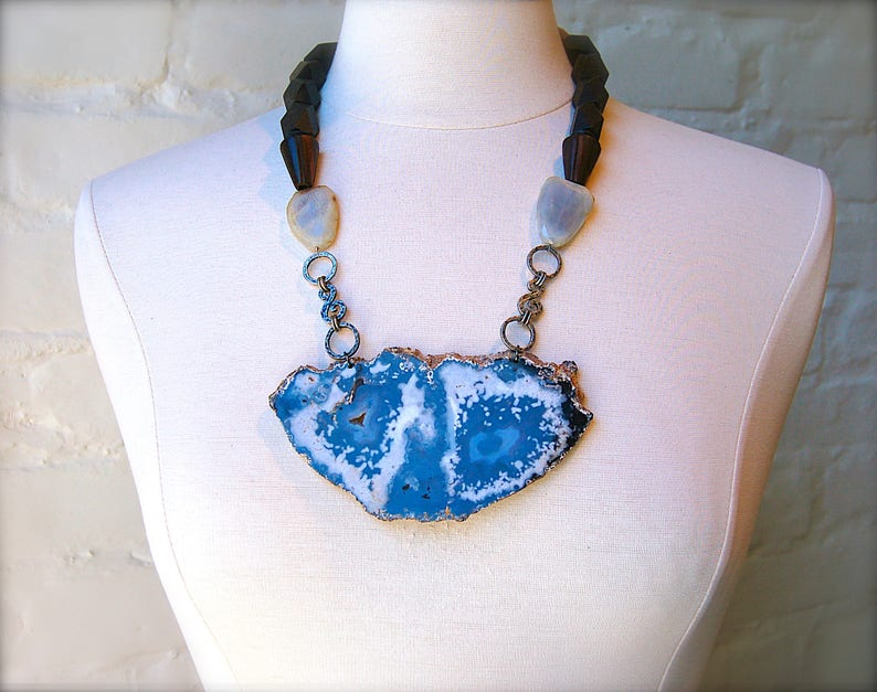 Large Agate Slice with Chalcedony Artistic STATEMENT Necklace Wood and Hand Crafted metal details OOAK Mineral Necklace Gift! Geode