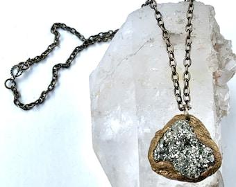 Large PYRITE PENDANT- Fool's Gold Raw Mineral Pendant- Organic, Chunky Natural Stone Pendant/Necklace- OOAK Pauletta Brooks Wearable Art