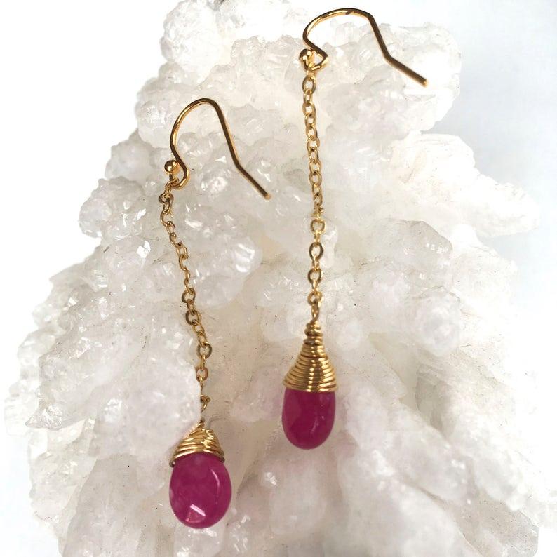 Dangle Beaded Earrings Mineral Earrings Drop Earrings Gold Wire wrapped Stone Bead RUBY JADE Natural Stone /'Teardrop/' Earrings