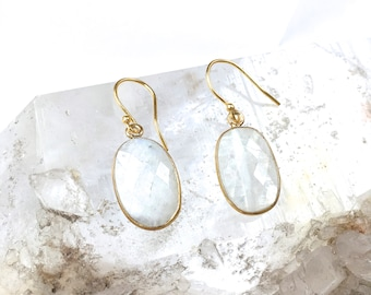 MOONSTONE Gemstone drop Earrings-Elegant Dangle Earrings-Opalescent White Mineral Gemstones in Gold Vermeil-Mother's Day+ BFF Gift for Her!