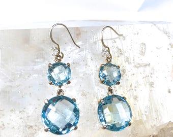 AQUAMARINE Gemstone Cocktail Earrings/Faceted Crystal Statement Earring w. Zircon/ Aquamarine Sterling Silver Earrings/ March Birthstone gem