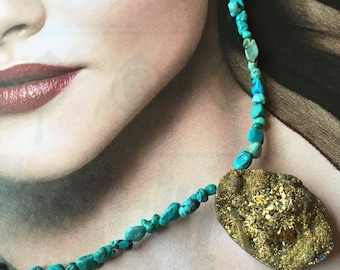 Golden Pyrite Druzy Pendant w. Turquoise Chip Beads- South West Native American style Choker/Necklace-Raw,Rough cut Minerals Pendant-on Sale