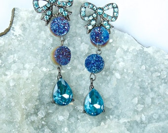 Teal Blue 'Vintage-like'- BOWTIE Druzy crystal STATEMENT Earrings- Dangle Earrings- Bridal, Romantic, Feminine, Elegant, OOAK, Opulent Gift!