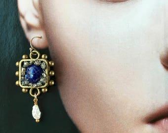 Lapis Lazuli and Pyrite Gemstone Statement Earrings w. Pearl- Mineral Earrings-Medieval/ Baroque Dangle Earrings- Heraldic Hobnail  Earrings
