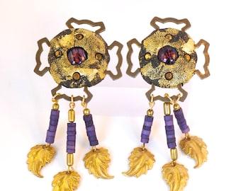 Black Sculpted Artisan Earrings/ Space Age Vintage Jewelry/ Man from Mars Earring/ Pauletta Brooks Wearable Art/ Unique OOAK Dangle Earrings