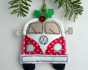 VW Van Christmas Decoration Fabric Christmas Ornaments Volkswagen Bus Handmade VW Camper Van Ornaments Personalized Kombi Adventure Awaits