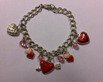 Vintage Silver Tone  Valentine Fun Charm Bracelet