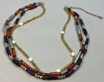 Vintage Amber & Rose Plastic Bead Necklace