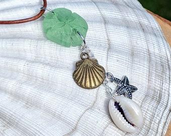 Cultured Glass Sand Dollar Pendant Beach Jewelry Charm Pendant, Cowrie Shell Pendant, Beach Necklace, Ocean Jewelry, Beach Boho