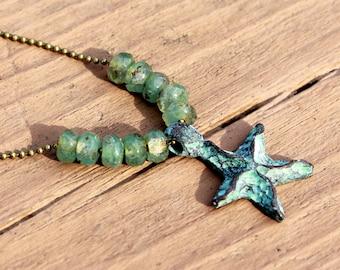 Mykonos Starfish Necklace, Starfish Jewelry, Beach Jewelry, Patina Starfish, Nautical Jewelry, Beach Boho, Ocean Necklace, Star Pendant
