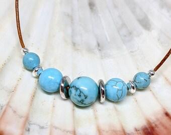 Turquoise Howlite Beaded Leather Necklace, Southwest Style Jewelry, Turquoise Jewelry Gemstone Jewelry, Layering Necklace