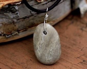 Michigan Beach Stone Pendant, Beach Stone Jewelry, Rock Pendant, Nature Inspired, Nature Jewelry, Beach Jewelry, Petoskey Stone