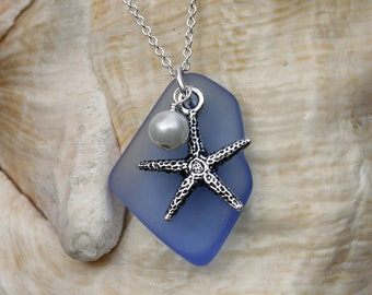 Sapphire Blue Cultured Glass Starfish Pendant with Shell Pearl, Beach Jewelry, Starfish Jewelry, Beach Glass Necklace, Ocean Necklace