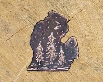 Handmade Etched Copper Michigan Pine Tree Pendant, Michigan Charm, Etched Copper Pendant, Nature Pendant, Rustic Pine Tree, Outdoor Pendant
