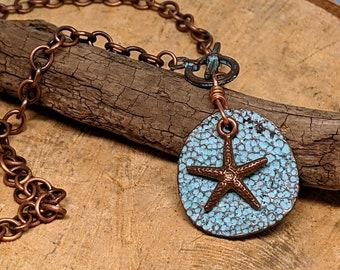 Starfish Pendant, Beach Necklace, Starfish Necklace, Green Patina Mykonos Disc Copper Starfish Pendant, Copper Necklace, Beach Boho