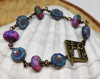 Brass Wire-Wrapped Bracelet with Humblebeads Bright Disk Beads, Boho Jewelry, Artisan Bead Jewelry, Flower Beads Bracelet, Polymer Clay Bead
