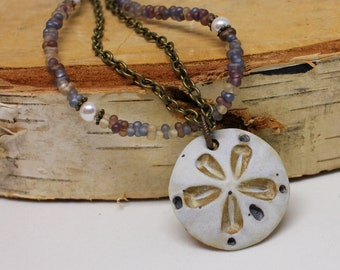Artisan Sand Dollar Necklace, Beach Jewelry, Boho Jewelry,  Beach Boho, Sand Dollar Pendant, Ocean Necklace