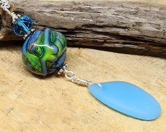 Mood Bead Mermaid Beach Glass Pendant, Mermaid Color Changing Mood Bead, Mermaid Jewelry, Ocean Jewelry, Beach Jewelry, Mermaid Necklace