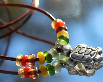 Silver Turtle Necklace with Indonesian Lampwork Glass Beads, Turtle Jewelry, Turtle Charm, Tortoise Necklace, Beach Jewelry, Turtle Pendant,