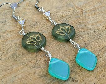 Czech Glass Lotus Flower Drop Earrings, Lotus Earrings, Beaded Earrings, Yoga Jewelry, Gift for Her