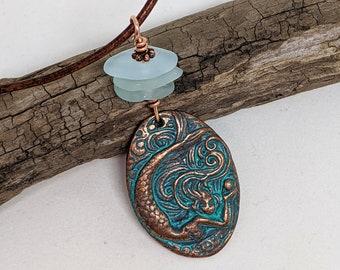 Copper Mermaid Beach Glass Pendant, Mermaid Jewelry, Beach Jewelry, Beach Glass Jewelry, Green Girl Mermaid Pearl Coin, Mermaid Necklace