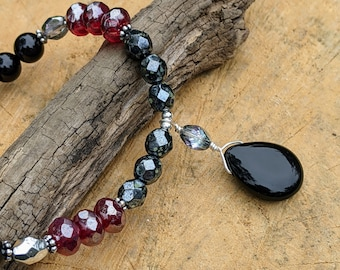Black Onyx and Czech Glass Wire-Wrapped Necklace with Czech Glass Briolette Pendant, Teardrop Pendant, Beaded Jewelry, Czech Glass Jewelry