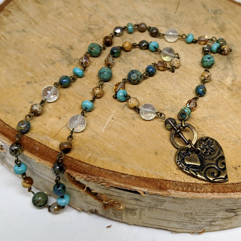 Brass Gemstone and Crystal Beaded Chain Necklace with Heart image 0