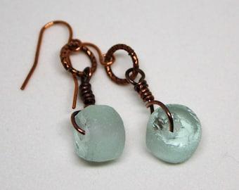 Recycled Glass Earrings, Light Aqua Glass Nugget Earrings, Copper Earrings, Beach Jewelry, Boho Jewelry, Beach Glass Earrings