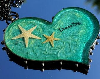 Large Gunmetal Resin Heart Dream Big Necklace, Beach Heart Pendant, Statement Necklace, Starfish Jewelry, Dream Big Pendant