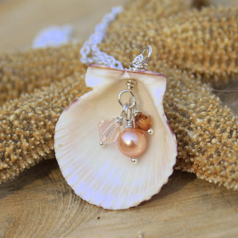 NAUTICAL FOSSIL SEA SHELL SILVER PLATED CHAIN BEACH PENDANT NECKLACE JEWELLERY