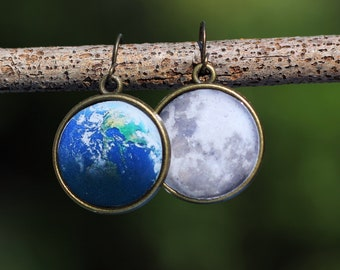 Earth and Moon Resin Earrings, Space Jewelry, Brass Moon and Earth Earrings, Space Earrings