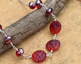 Red Czech Glass Rose Coin Beads Necklace, Boho Jewelry, Wire Wrapped Necklace, Gift for Her