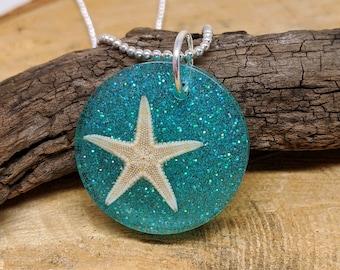 Real Starfish Blue Glitter Resin Pendant, Beach Jewelry, Starfish Jewelry,  Real Starfish Necklace, Resin Jewelry, Starfish Pendant