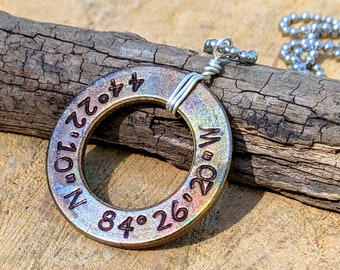 Coordinates Personalized Pendant, Hand Stamped Bronze Washer Pendant, Personalized Jewelry, Washer Jewelry, Custom GPS Coordinates Pendant