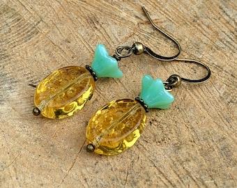 Czech Glass Pineapple Earrings, Pineapple Jewelry, Tropical Earrings, Fruity Jewelry