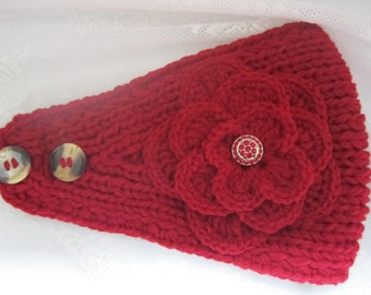 Red knit headband, ear warmer with crochet flower and rhinestone button