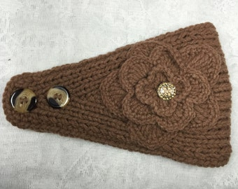 Brown (coffee) Knit Headband, Ear Warmer with Crochet Flower and Rhinestone Button