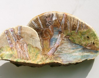 Wood-Burned Doe with Fawn Tree Fungus Art