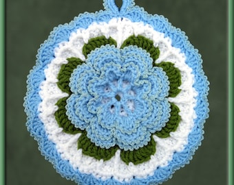 Crocheted Pale Blue Rose Potholder/Wall Art
