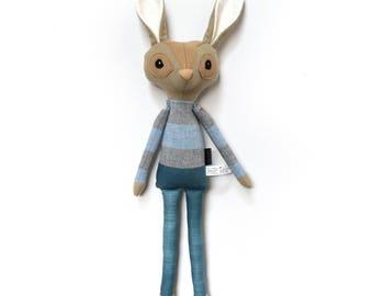 Rupert Rabbit - Softie, plush doll, heirloom, animal doll, nursery decor, toy