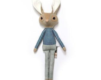 Rupert Rabbit - Softie, plush doll, heirloom, animal doll, nursery decor, toy, easter