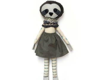 Anastasia Sloth - Softie, plush doll, heirloom, animal doll, nursery decor, toy