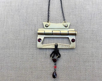 Art Deco Upcycled Brass Cutout Hinge Necklace in Red and Black